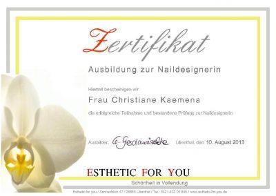 Zertifikat Christiane
