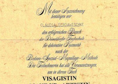 Zertifikat Claudia Visagistik 1