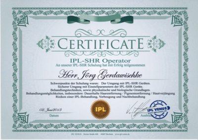 Zertifikat IPL Venus Jörg klein