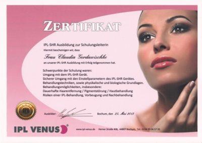 Zertifikat IPL Venus_Claudia klein