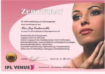 Zertifikat IPL Venus_Jörg klein