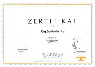 Zertifikat Laserschutz Jörg Purebeau