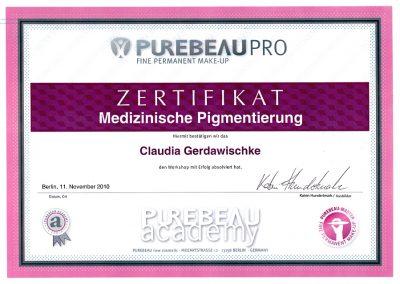 Zertifikat Medizinisches PM Purebeau 2010
