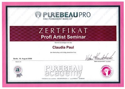 Zertifikat Profi Artist Purebeau