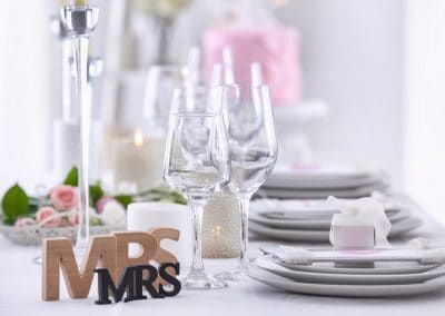 Beautiful served table for lesbian wedding