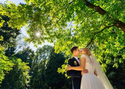 A beautiful wedding couple kissing with sun shining in the green